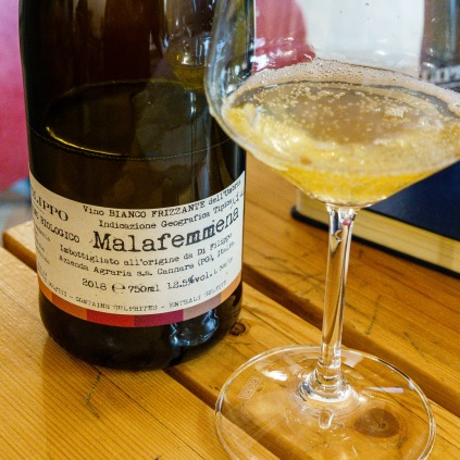 Malafemmena is a lightly sparkling wine. Notably, Roberto freezes some grape juice at harvest to use to provide the sugar for the second fermentation in the bottle.