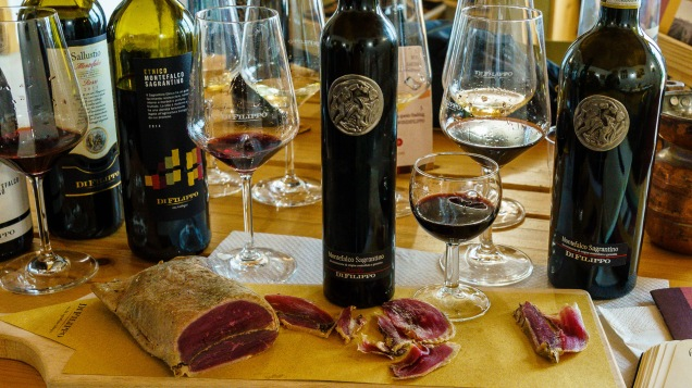 For the big guns (2 dry and 1 sweet Sagrantino), Roberto brought out some goose breast salumi, another product of the farm. That rich goose breast was delicious with the Sagrantino passito - think about an alternative version of foie gras with Sauternes!