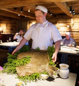 Whole halibut before being prepared as a dish