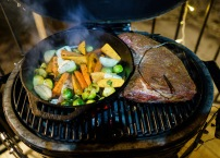 I started the tri-tip roast on indirect heat (with smoke) to allow it to cook low & slow. The vegetables were added mid-cook.