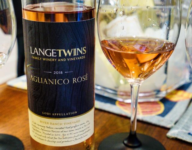 Lange Twins Winery and Vineyards Aglianico Rosé wine from Lodi California