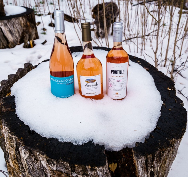 Rosé wines in the snow