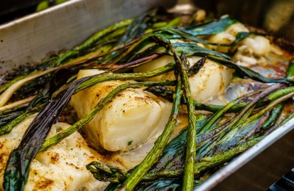 The fish and the veggies all cook in the same pan