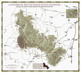 Chehelam Mountains AVA, inside Willamette Valley AVA. Ribbon Ridge AVA is the dark spot on the bottom left corner. Map courtesy of Chehelam Mountains Winegrowers