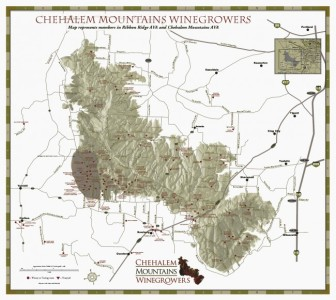 Chehelam Mountains AVA, inside Willamette Valley AVA. Ribbon Ridge AVA is the dark spot on the bottom left corner. Map courtesy of Chehelam Mountains Winegrowers
