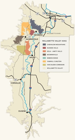 Willamette Valley AVA courtesy of Oregon Wine Board