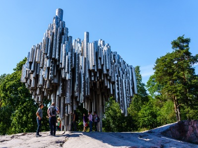 A monument to Jean Sibelius the composer.