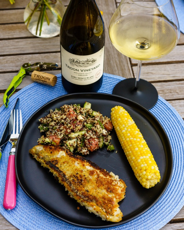 Pan-fried Walleye paired with Troon Vineyard Kubli Bench blanc