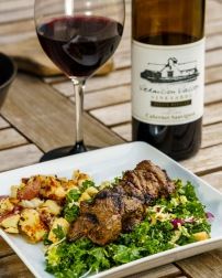 Lamb skewers on the grill were perfect with this nice Cab.