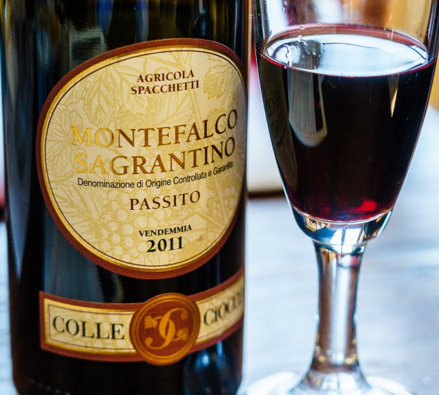 Colle Ciocco Montefalco Sagrantino Passito 2011 tasted at the winery.