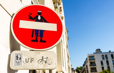 My favorite pastime walking around Paris - Clet Abraham street art!