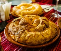 My favorite food discovery on the trip. This is a plăcintă, a dough filled with a number of different fillings from cabbage to cheese to potatoes. Potato filled dough may not sound interesting, but you need to try it!