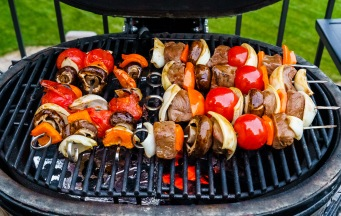 A recent innovation for my skewer cooking: cook the meat over indirect heat and the veggie-only skewers over direct low temperature heat. The veggies get more done and the meat can still be cooked to medium rare!