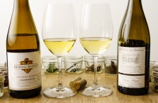 The Kendall Jackson Chardonnay is deeper in color than the Macon-Villages