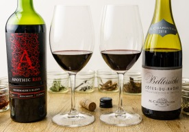 Both wines show deep color in the glass