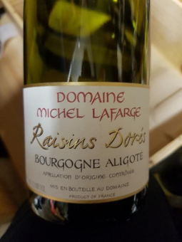 Lafarge - Aligoté Raisins Dorés top example. They take big pride in this cuvée despite its humble status, it's one of the domaines calling cards.