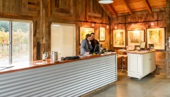 The tasting room is attached to the winery.