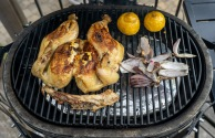 Clear the grill, install the diverter plates to convert to indirect heat, pull the chicken at 160° F
