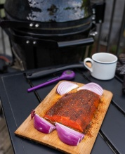 Salmon with rub on the plank, ready to go