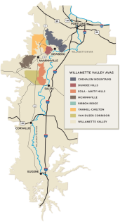 Willamette Valley AVA and sub-AVA's. image courtesy of willamettewines.com