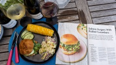 Pinot Noir and salmon are a classic combination. How about a salmon burger?