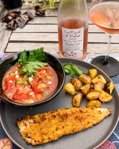 We enjoyed this rosé with walleye and gazpacho