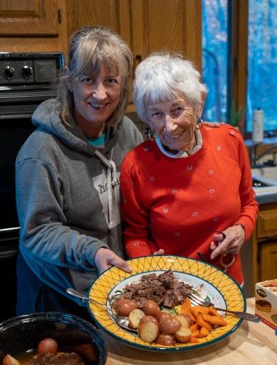 Julie and Joyce with pot roast