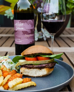 A humble burger dressed up with a bit of Sangiovese