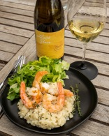 Delicious served with shrimp risotto
